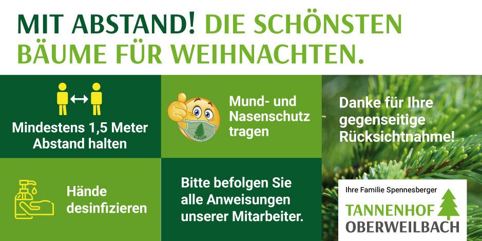 Tannenhof Oberweilbach: Mit Abstand die schönsten Bäume für Weihnachten im Landkreis Dachau. Unser Hygienekonzept ermöglicht Ihnen einen sicheren Christbaumkauf. Auch im Corona-Jahr 2020.